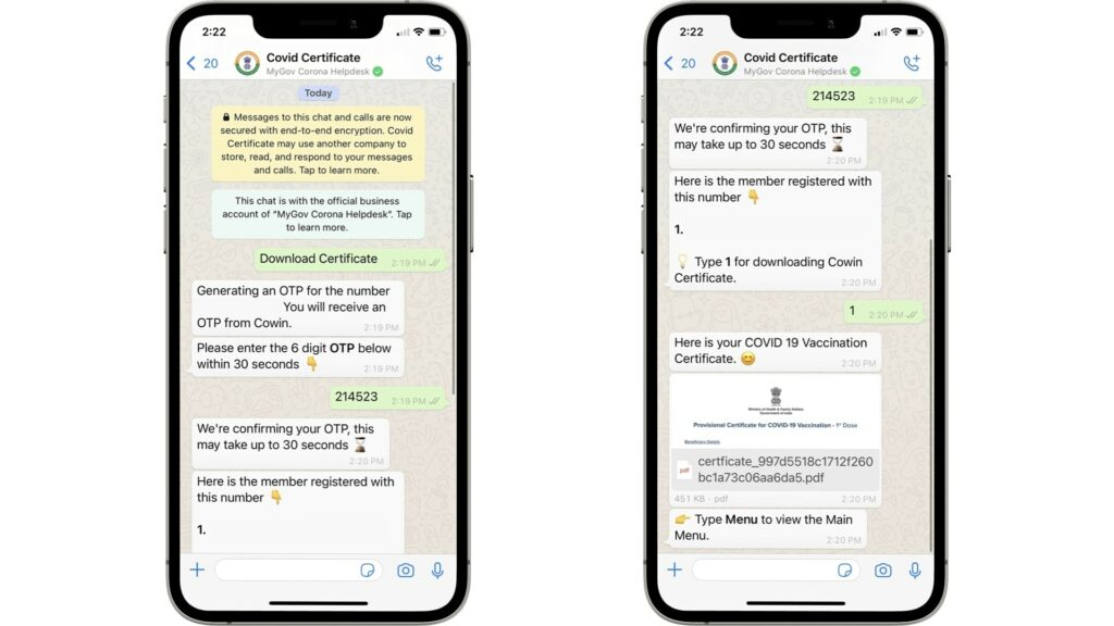Download Covid Vaccination Certificate from WhatsApp